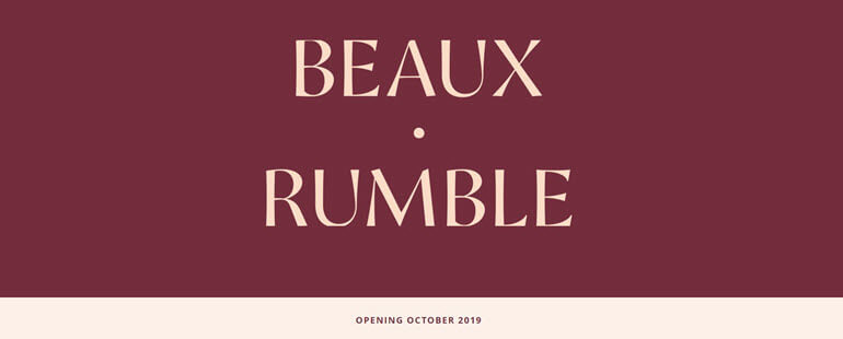 Maroon and gold Beaux Rumble Restaurant logo
